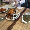 Prawn in crab oil sauce, fried pork knuckles, vegetable mash