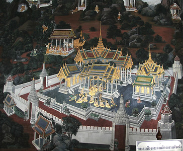 Detail of some of the gorgeous walls surrounding Wat Phra Kaew.