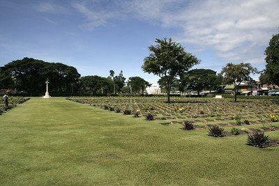 Kanchanaburi War Cemetery where many of the POWs were buried.