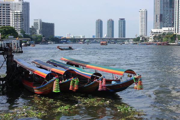 Long-tail boats on the Chao Phraya River