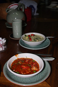 My favorite dishes we cooked, Penang Curry and Green Curry