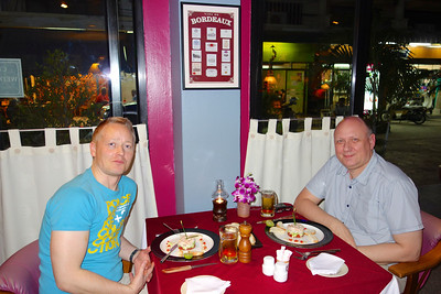 Eating at Restaurant Bordeaux, Pattaya, celebrating 21 years together