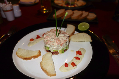 Salmon tartar. Eating at Restaurant Bordeaux, Pattaya, celebrating 21 years together