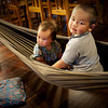The kids trying out the restaurant hammock