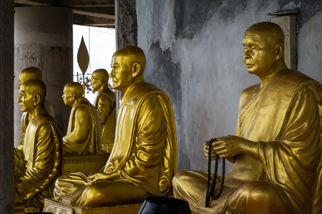 Golden statues of Thai Buddhist Monks, Big Buddha Phuket