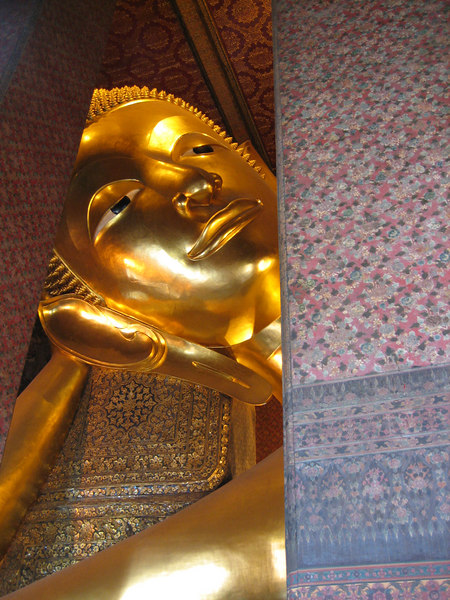 A very large reclining gold Buddha!