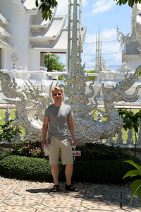 Wat Rong Khun - The White Temple - July 2011 The white temple is an impressive piece of art - it is more than just a temple. Søren is not a part of the temple art - he is mine!