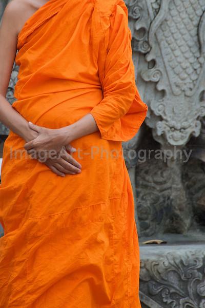 Buddhist Monk in Saffron Robe