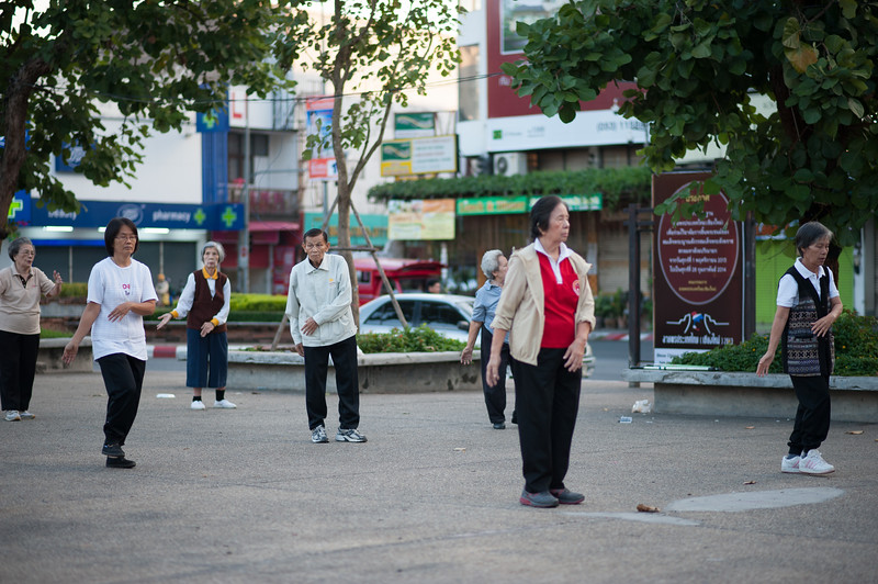 Looks like only old people do Tai-Chi in Thailand.  This could almost be an SNL skit.