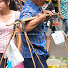 Bangkok life, vendor with traditional baskets.<br /> Model released; no, for editorial & personal use.