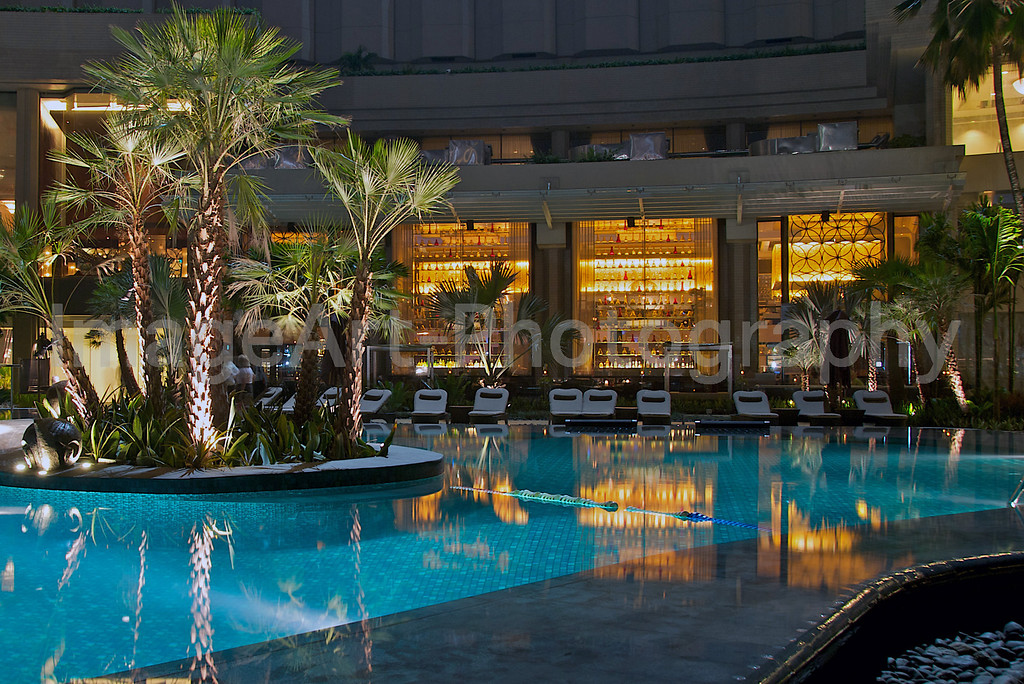 Thai resort at night