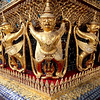Garuda figures adorning the exterior of the Temple of the Emerald Buddha, in the Grand Palace complex, Bangkok.