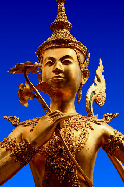 Gilded bronze kinnari figure from the Grand Palace, Bangkok.