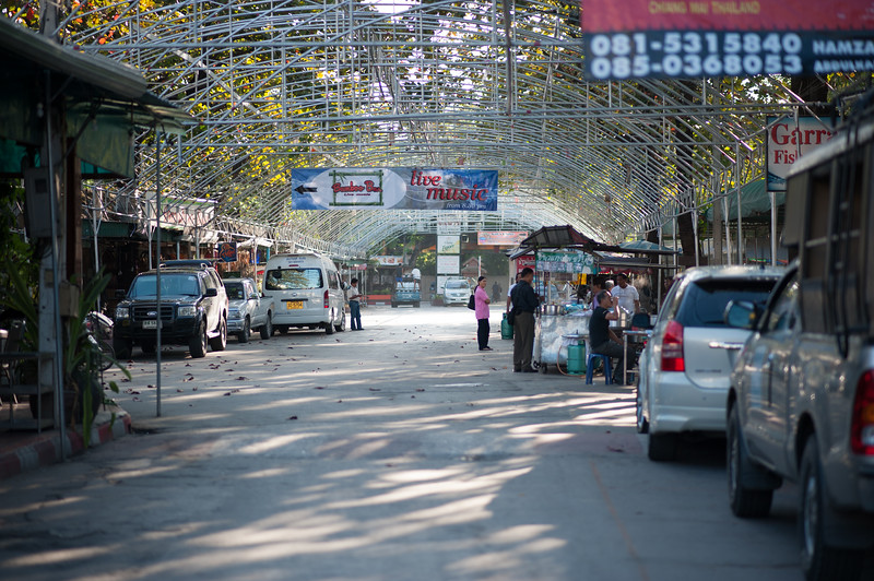 I never got a picture of the Chaing Mai night bazaar, which was huge and fun and packed with people and all kinds of merchanise.  Vendors were polite and not pushy, and the visitors were all ages, from all over the world, friendly, and sober. (This is the entrance early in the morning.)