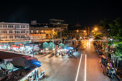 high point of view onto city street night markets