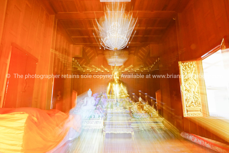Inside wooden Buddhist Temple