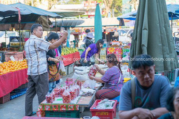 Busy bustling local markets in small town in Chiang Mai Province.