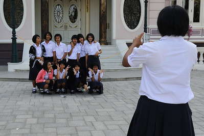 Thailand attractions were filled with school children, Bang Pa-In Royal Palace (the Summer Palace), Bang Pa-In district, Ayutthaya Province