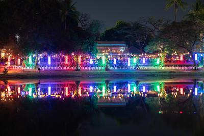 Night scene of illuminated riverside city night spots