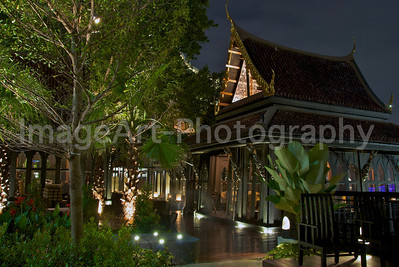Thai Pavilion in a resort at night