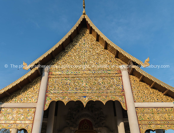 Ornate facade of Thai Buddhist temple.
