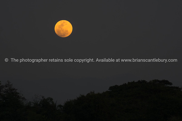 Super blue moon in sky over Thailand.
