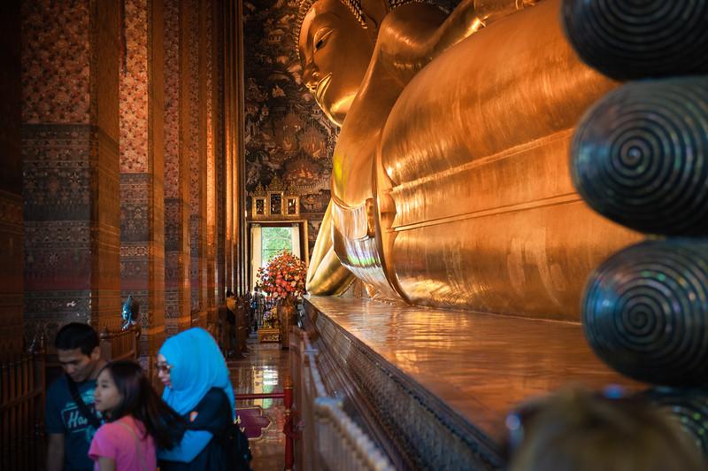 Giant gold-leaf reclining Buddha