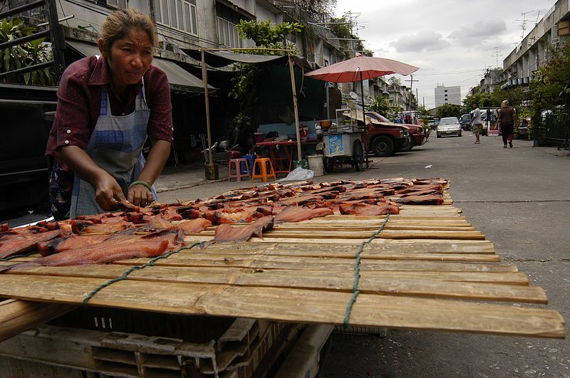Treating salmon in the streets of Bangkok