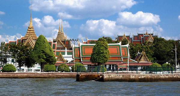 Grand palace from Chao Phraya River, Bangkok, Thailand