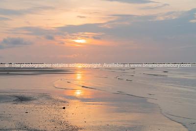Coastal background at sunrise
