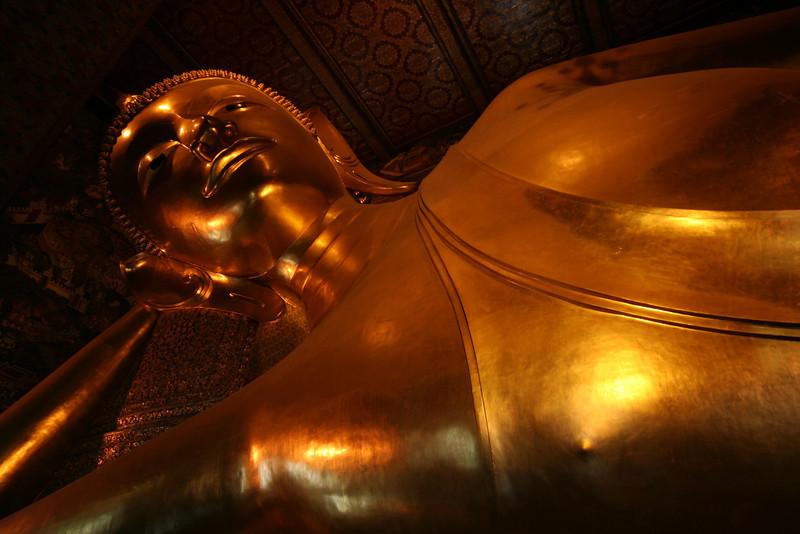 Giant reclining Buddha at Wat Pho, Bangkok.