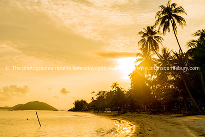 Sunrise along Ko Samui beach, Thailand.
