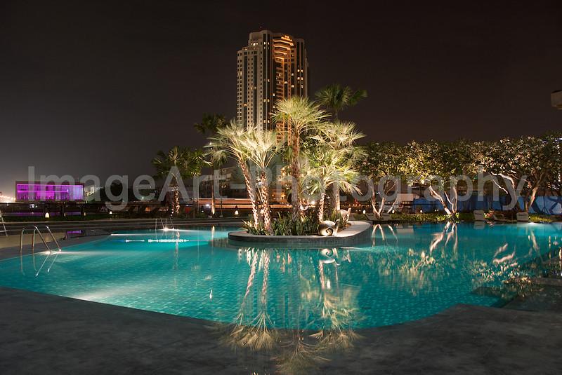 Resort Swimming pool at night