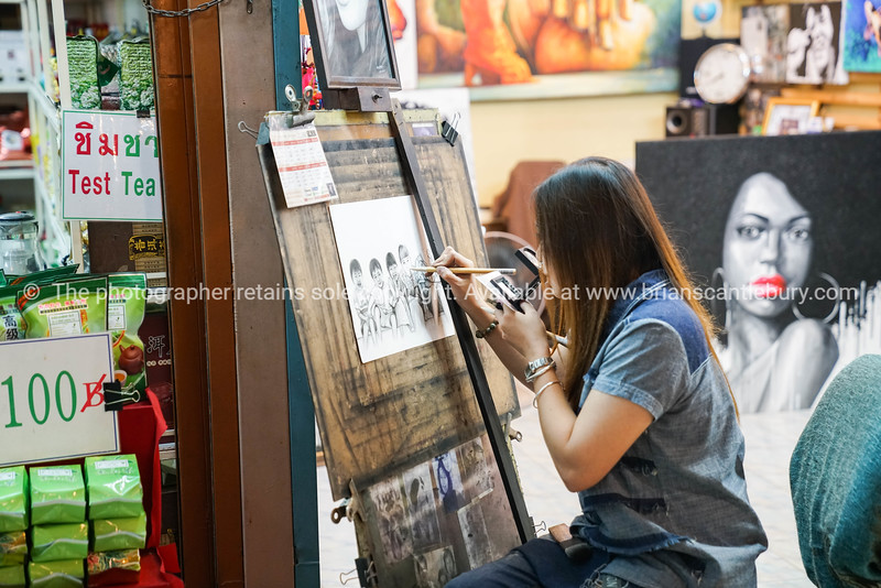Artists copying other pictures in night markets