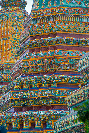 Mosaic tile decoration on a Thai Temple