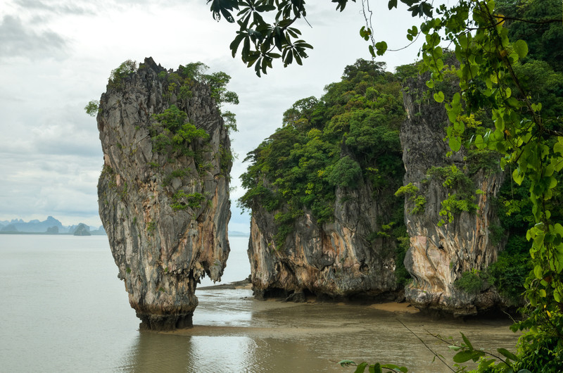 James Bond Island, a towering yet incredibly petite island featured in the Man with the Golden Gun. Of course, it existed before that too and was called Ko Khao Phing Kan.