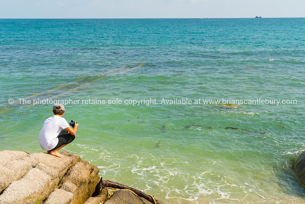 Boy holding camera squats on rock looking at sea in tropical location