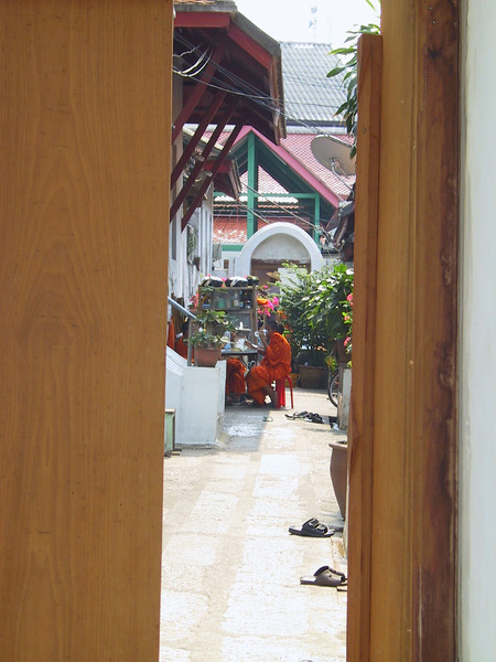 Monks in the courtyard