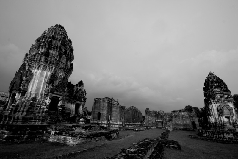 Ruins of Wat Phra Si Ratana Mahathat, in the town of Lopburi, about 150km north of Bangkok. The sprawling temple complex is built in the Khmer style and dates to the 12th century. (B&W version).