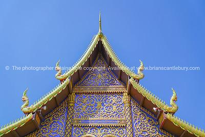 Ornate Buddhist pagoda facade and gable