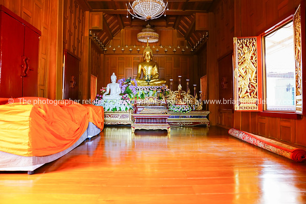 Inside wooden Buddhist Temple
