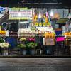 Chiang Mai street markets selling flowersa at night.