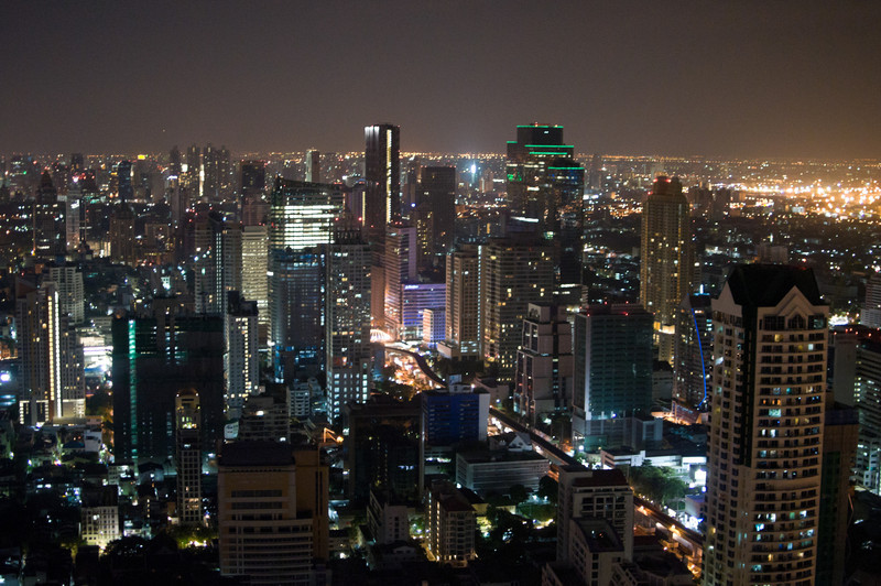 The view of the Bangkok business district from Sky Bar, one of the most expensive in the city.