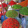 Fresh chilies in the market.  Most of the peppers in Thailand orginated in central america