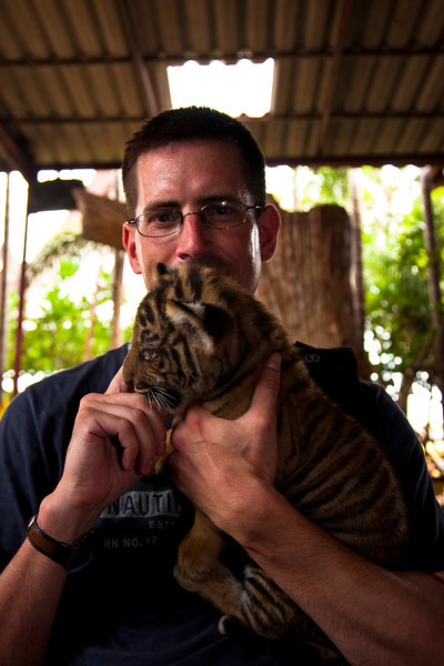 What? Me? Oh, nothing much. Just holding a tiger cub.