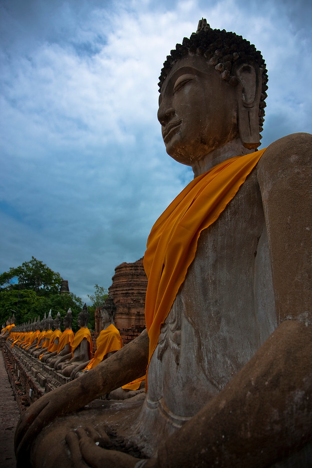 These are ancient temple ruins at the old capital of Thailand, Ayutthaya. When the Burmese finally conquered Thailand after 2 years of war the Thais fled and built their new capital near Bangkok.