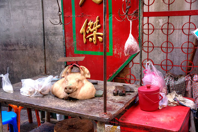 Meat market in an alley. Chinatown, Bangkok, Thailand.