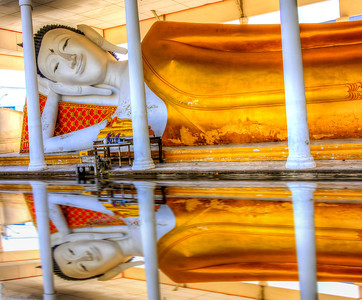 A Buddhist temple on the outskirts of Bangkok, Thailand.  The recent floods in Thailand had damaged part of the temple.