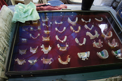 False teeth for sale along the street in Chinatown, Bangkok, Thailand.