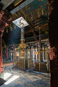 Shaft of light comes through the ceiling at the Vaitheeswaran Koil (Sri Vaidyanatha Swamy Temple).  Vaitheeswaran Koil or Pullirukkuvelur is a Hindu temple dedicated to the Lord Shiva.  Lord Angaraka Temple (The Planet Mars) in which the presiding deity is Sri Vaidyanathan - the God of Healing. 27 km from Chidambaram, and 110 km from Thanjavur in Tamil Nadu, South India.